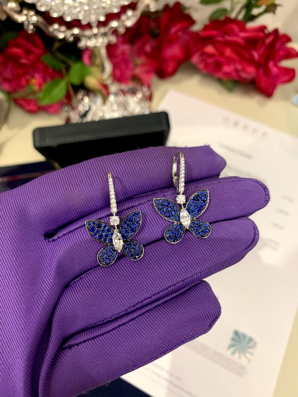PAVE BUTTERFLY, SAPPHIRE, WHITE GOLD, LARGE MODEL #2